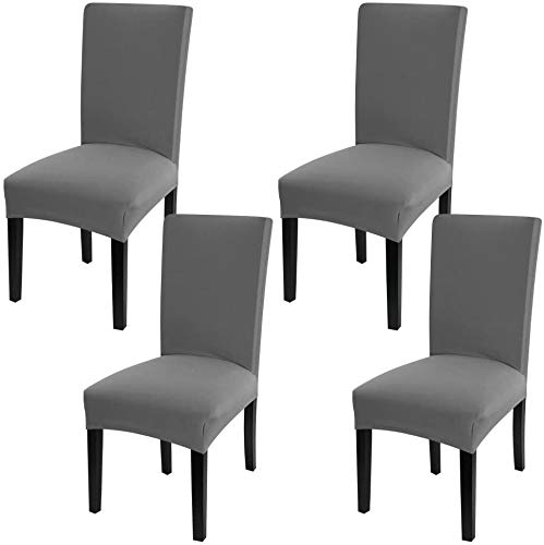 YISUN Dining Room Chair Slipcovers Spandex Dining Chair Covers Parsons Chair Covers Stretch Dining Chair Slip Covers Protector for Dining Room,Kitchen,Hotel,Banquet Wedding Party (4 Pack, Gray)