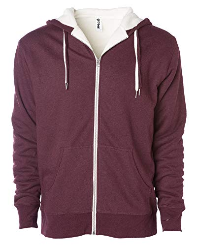 Global Unisex Heavyweight Sherpa Lined Zip Up Fleece Hoodie Jacket Burgundy XS