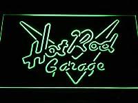 Hot Rod Garage LED看板 ネオンサイン ライト 電飾 広告用標識 W30cm x H20cm グリーン