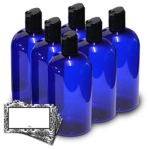 Baire Bottles 16 Ounce Plastic Bottles with Waterproof Labels - 6 Pack...