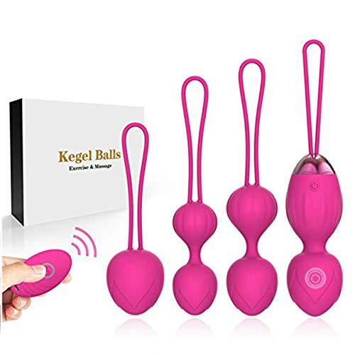 2 en 1 Balles de poids et massage Kegel - Ensembles de balles Ben Wa - Balles en silicone Kegel pour débutants et avancés pour les exercices sur le plancher pelvien et le serrage (rose)