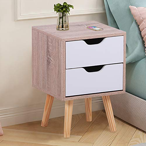 GOLDFAN 2 Tiers Wooden Bedroom Bedside Table Night Stand Side Cabinet With Drawer Modern White & Oak (29×29×44cm)
