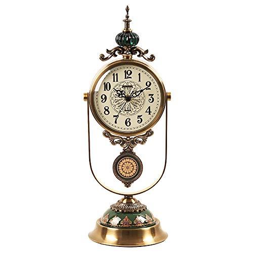 ZLDMYC Exquisito Manto Reloj Antiguo Reloj Chimenea Reloj silencioso Mesa Reloj Sala de Estar luz Lujo Columpio Mesa Reloj Modelo decoración Adornos Creativo (Color : Metallic)