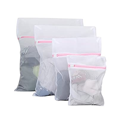 Vivifying Mesh Laundry Bags, Set of 4 Durable Washing Bags with Zip Closure for Clothes, Delicates