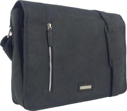 """Unicorn Real Cuero Negro 16.4"""" Portátil Mensajero Bolsa - Messenger Bag #2k"""