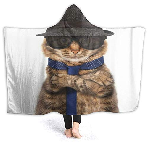 SUGARHE Tragbare Hoodie Decke,Hut lustige Katze Mafia Boss Bad Evil Tie Bandit,Umhang Druck Grafik warm für den Winter 60x50