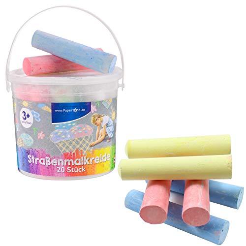 Smart Planet® Straßenmalkreide 20 Stück Kinderkreide 6 versch. Farben Kreide Stifte für Kinder zum Malen auf der Straße abwaschbar - Malkreide im Eimer
