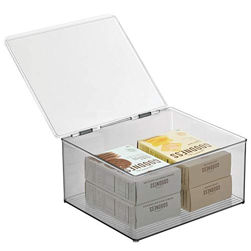 mDesign Plastic Stackable Kitchen Pantry Cabinet or Refrigerator Food Storage Container Bin, Attached Hinged Lid - Organizer for Snacks, Produce, Pasta - Deep Container, 2 Pack - Clear/Smoke Gray