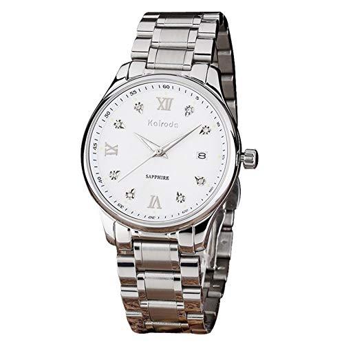 Clopkg Black Light Luxury Business Diamond Men's Reloj De Hombres Acero Inoxidable Reloj Impermeable Calendario Reloj Luminoso Hombre, Día De San Valentín Regalo De Amor, 10ATM Impermeable, Oro, Plata