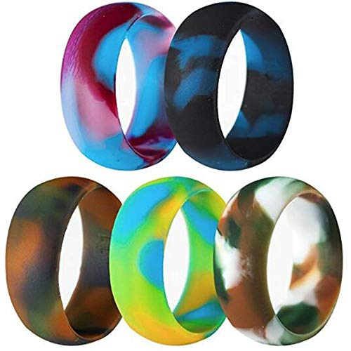 5 Pack Size 5-15 Rubber Silicone Rings Flexible Corssift Outdoor Wedding Engagement Gym Cocktail Hypoallergenic (5)