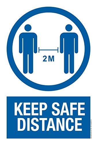 akrocard - Cartel Resistente PVC - KEEP SAFE DISTANCE - Señaletica COVID 19 medidas basicas de seguridad- señal Ideal para comercios, tiendas, locales