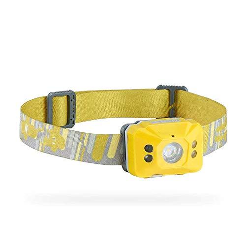 ZBQLKM Ultra Brillante LED Faro - 4 Modos de luz, Blanco y Rojo LED, Correa Ajustable, Resistente al Agua IPX4.Ideal for Correr, Camping, Senderismo y Más (Color : Yellow)