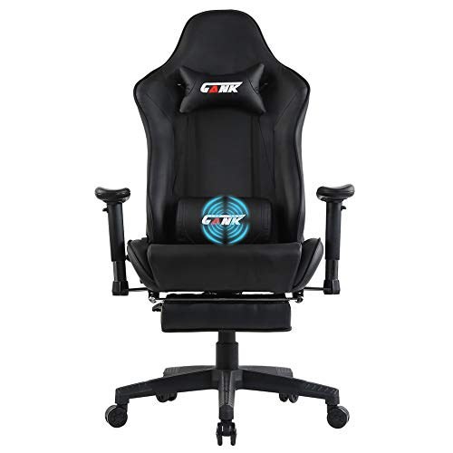 GANK Gaming Chair Large Size Racing Office Computer Chair High Back PU Leather Swivel Chair with Adjustable Massage Lumbar Support and Footrest (Black-F) chair footrest gaming