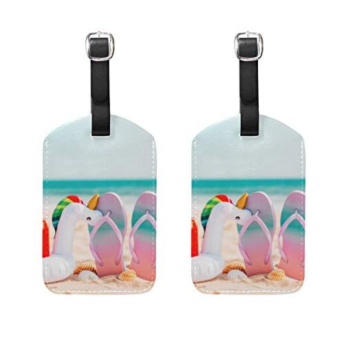 Summer Flip Flops Einhörner Gepäckanhänger 2 Stück tragbare Adress-Namensschilder Halter Kennzeichnung Kariert Karte Reisezubehör für Reisetasche Koffer