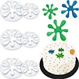6 Pieces Paint Cookie Mold Splatter Fondant Mold for Cake Cupcake Decoration Polymer Clay Crafting Projects