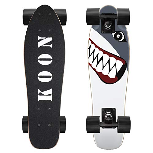 KO-ON Skateboards 22 Inch Complete Mini Cruiser Skateboard for Beginner Boys and Girls (Shark)