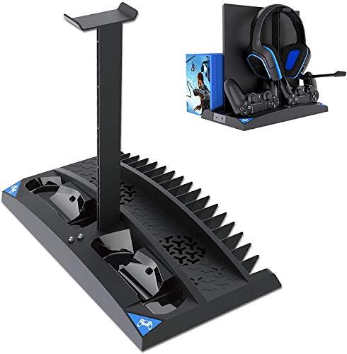 Linkstyle Vertikaler Kühlständer Kompatibel mit Ps4 Pro / Ps4 Slim / Ps4, mit 2 Controller-Ladestationen, 17 Spielespeichern, 1 Headset-Speicherhalter
