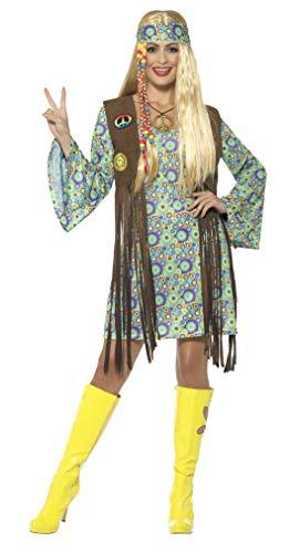 Smiffys Damen 60er Jahre Hippie Chick Kostüm, Kleid mit Weste, Medaillon und Haarband, Mehrfarbig, M