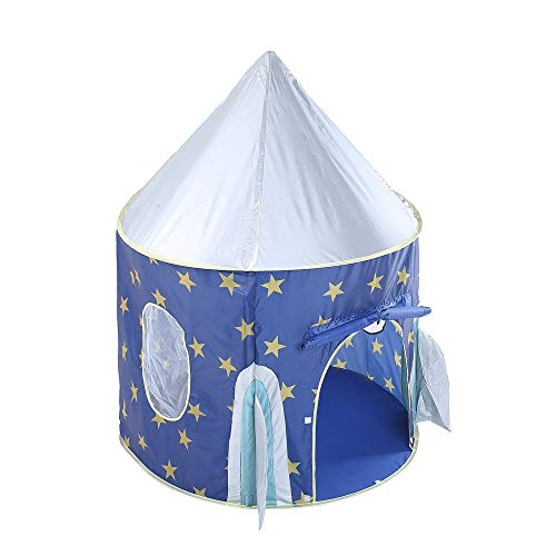 ZHJC Play Tent Children's Space Pop-up Playhouse toy Tent Star Rocket Castle Theater Cute Foldable Princess Big Indian Tent With Tote Easy to Assemble (Color : Blue, Size : As shown)