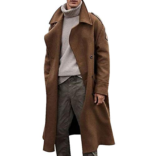 Men Winter Warm Office Trench Coat Business Long Parka Jacket Solid Color Overcoat Peacoat Streetwear