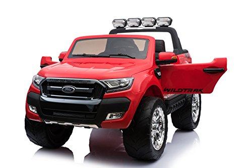 RC Auto kaufen Kinderauto Bild: ES-TOYS Kinderfahrzeug - Elektro Auto Ford Ranger, Modell - lizenziert - 2X 12V7AH Akku,4 Motoren 2,4Ghz MP4 Ledersitz Eva 2 Sitzer (Rot)*