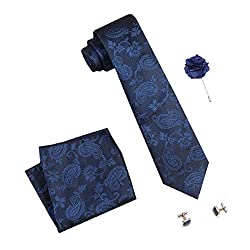 COCO CHANEL Mens Silk Summer Stain Resistant Necktie, Pocket Square, Cufflinks Set (Blue, Free Size)