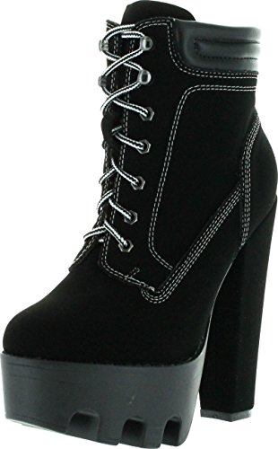 Wild Diva Vive11 Black Padded Collar Ankle Lugsole Platform High Thick Block Heel Bootie-8.5
