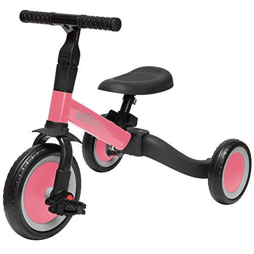 ib style® Loki 4 in 1 Multifunktions Dreirad | Laufrad | Balance Fahrrad | 1-5 Jahre | Bis 25kg | 2 Farben | Pink