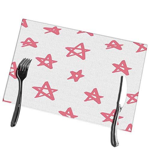 Winter-Zuid Placemats Leuke Kleurrijke Roze Ster Op Wit Grappige Feestelijke Inpakpapier Wasbaar Gemakkelijk schoon Placemat