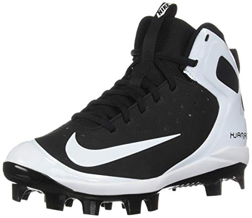 NIKE Kids' Alpha Huarache Pro Mid Baseball Cleats (5.5, Black/White)