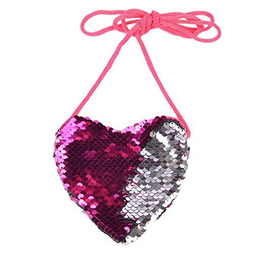 99native Damen Mädchen Meerjungfrau Pailletten Münze Geldbörse Mini Messenger Bag Handtaschen, Münztasche Meerjungfrau Schultertasche Geschenk für Mädchen 3 bis 10 Jahre Kinder (Heißrosa)