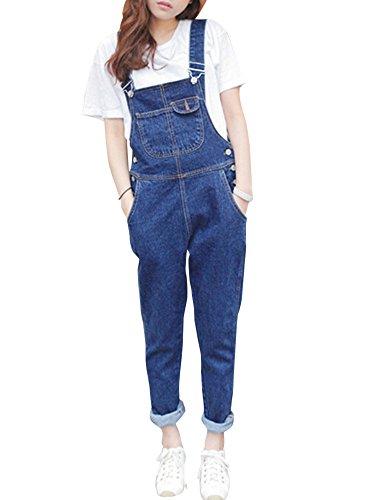 Damen Jeans Latzhose Hose Denim Overall Jeanshose Trägerhose Hosenträger Spielanzug Jumpsuit Playsuit Hosen Blau L