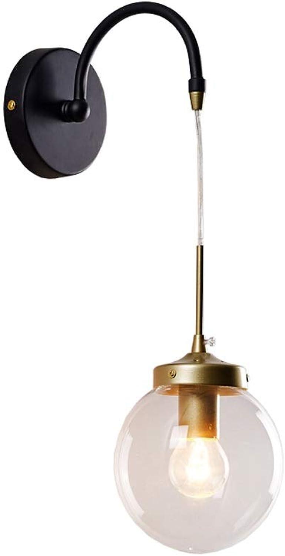 FTLY Nordic Persnlichkeit Metallwandleuchte Kreative Minimalistische Runde Glaswandleuchte E14 Postmodern Licht Luxus Wandleuchte Nachttischlampen Schlafzimmer Wohnzimmer Gang Flur