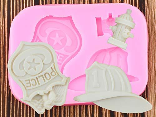 JIANCHEN Molde de Torta DIY Bomber Police Insignia Sombrero Moldes de Silicona Fondant Pastel Decoración Herramientas Chocolate Gumpaste Polímero Clay Candy Molds
