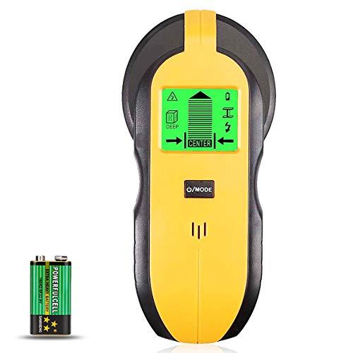 McDoo! Ortungsgerät - 4 in 1 Multifunktions Wand Scanner Detektor Stud Finder - Metalldetektor Leitungssucher mit LCD für Metall, Rohre, Holz, Stromleitung, AC Spannungsführenden (Gelb)