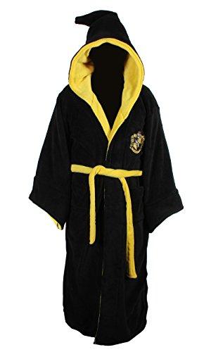 Harry Potter–Albornoz con capucha para adulto, forro polar (talla única) - Amarillo - talla única