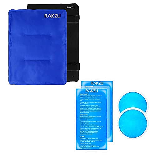 """Ice Pack for Injuries, RAKZU 14"""" X 11"""" Large Reusable Gel Ice Cold & Hot Soft Therapy Pack with Wrap+Reusable Hot Cold Gel Ice Packs, RAKZU 4 Pack Gel Ice Packs for Injuries"""