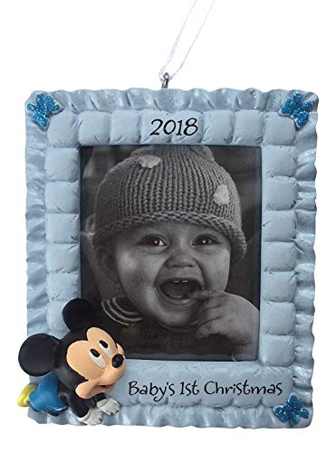 2018 Hallmark Disney Mickey Mouse Baby's First Christmas Photo Frame Christmas Tree Ornament