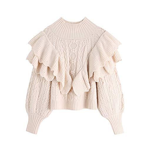 Mujeres 2020 Moda Volante Cosecha suéter de Punto Vintage Alto Cuello Linterna Manguito Femenino Pullovers Chic Tops (Color, Size : S)