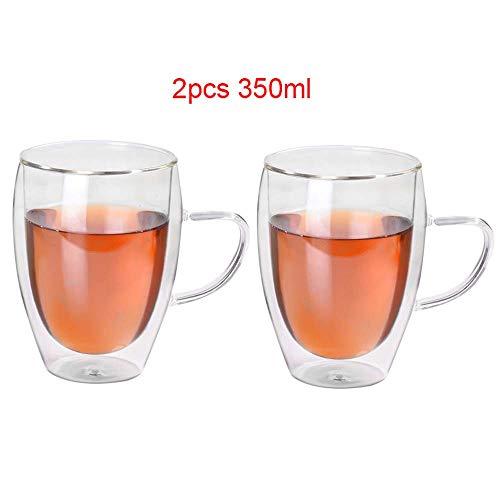 2er Set doppelwandige Design Glas Teetasse Kaffeetasse mit Henkel Hitzebeständige Klarglasbecher für Heiß- und Kaltgetränke 350ml