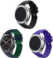 コンパチブル Galaxy Watch 46mm / Watch 3 45mm / Gear Live 時計バンド 互換性のある ソフトシリコンバンド スポーツバンド (22mm, 3PCS E)