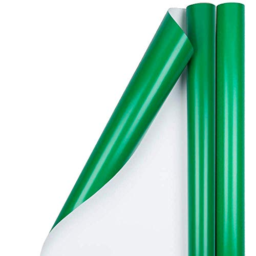 JAM PAPER Gift Wrap - Glossy Wrapping Paper - 25 Sq Ft per Roll - Green - 2/Pack
