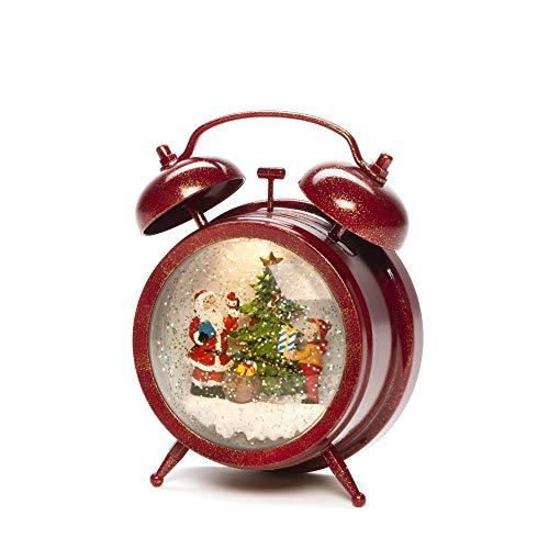 Konstsmide Schneekugel Wecker mit Weihnachtsmann und Kinderszene - Wassergefüllt/Innen (IP20)/Optional 8 Lieder Musik/Batteriebetrieben: 3xAA 1.5V (exkl.) / Weihnachtslaterne 1 LED rot