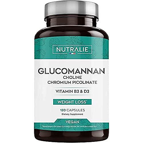 Konjac Glucomannane 3.000mg par dose   Aide Minceur et Coupe-Faim 100% Naturel avec Bitartrate de Choline, Picolinate de Chrome et Vitamines B3 et D3   120 Gélules Végétales   NUTRALIE