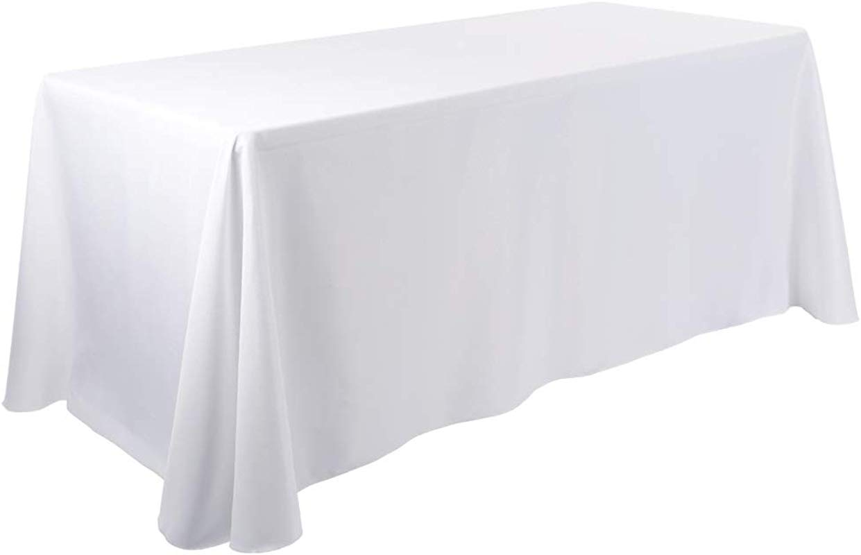 Waysle 90x132 Inch Oblong Tablecloth 100 Polyester Washable Table Cloth 6Ft Rectangle Table White