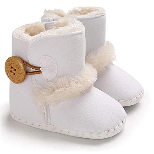 033 Baby Jungen Mädchen Schuhe Winter Krabbelschuhe Kleinkind Newborn Schöne Warme Stiefel Unisex Babyschuhe Winter Krabbelschuhe (12-18 Monate, Weiß)