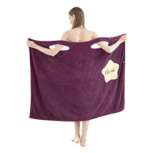 JIAHG - Albornoz para mujer con forro polar, de secado rápido, sin mangas, para la playa, para sauna, elástica, ropa de noche morado 100 cm