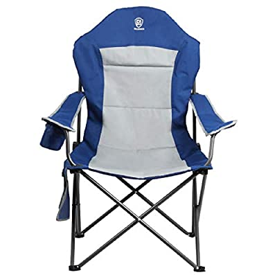 Ever Advanced Portable Heavy Duty Camping Chair, Support 300lbs, Padding Quad Folding High Backrest Arm Lawn Chair with Carry Bag,Side Pockets & Cup Holder for Outdoor, Hiking,Picnic