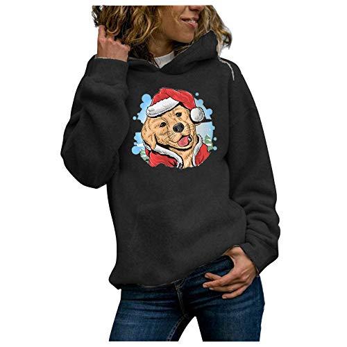 Janly Clearance Sale Blusa de manga larga para mujer, informal, con capucha, con estampado de perro, para invierno, Navidad, color negro y XL