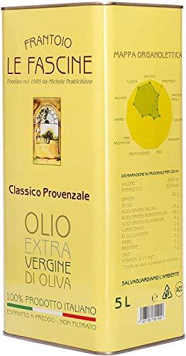 Le Fascine Olio Extravergine Di Oliva Italiano estratto a freddo unicamente attraverso procedimenti meccanici In Latta Da 5 Lt 100 % Prodotto Da Olive Provenzali ( Peranzane ) (1 Lattina)